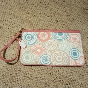 Coach Watercolor Button Wristlet